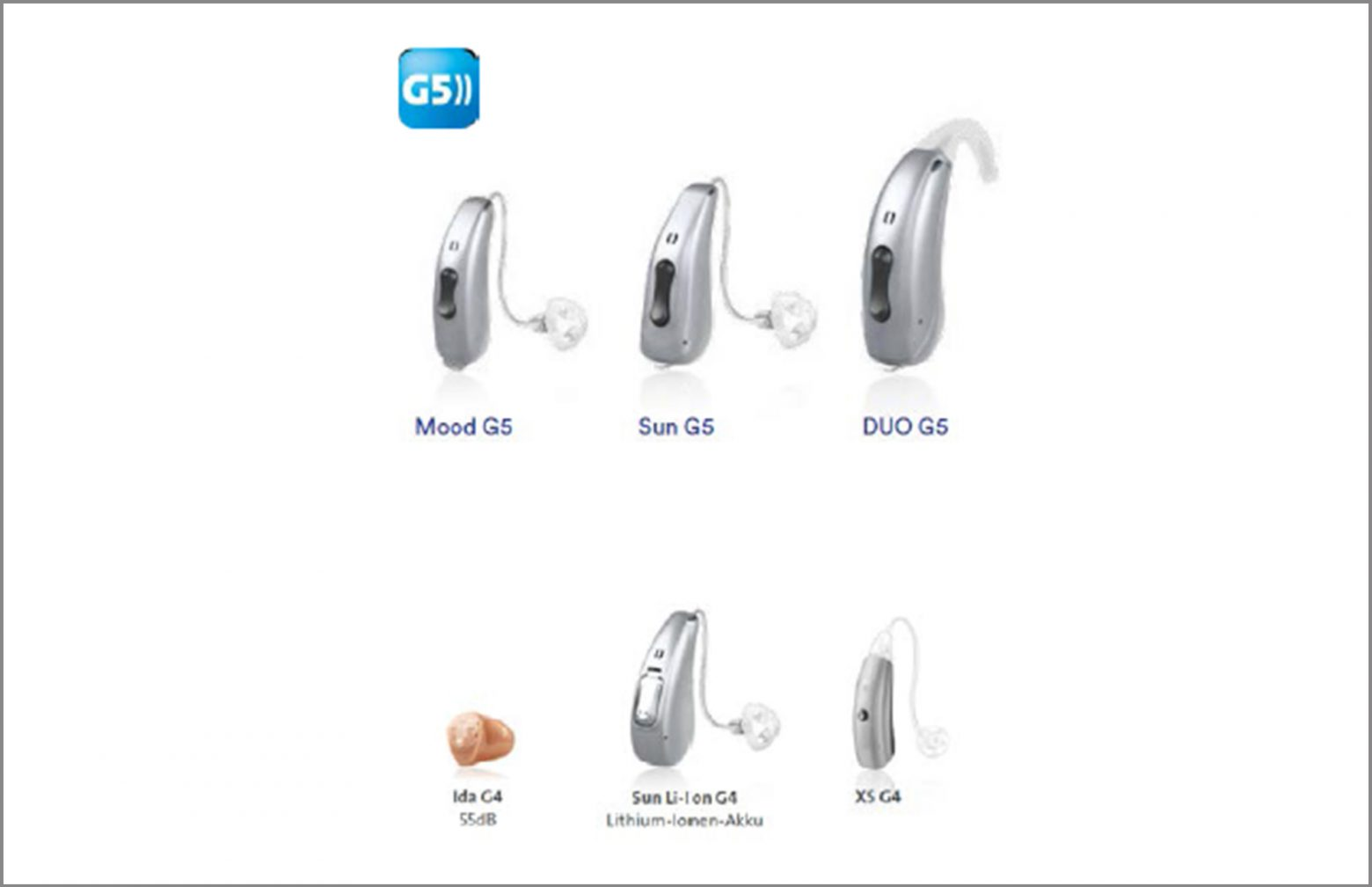 Six Different Audio Service hearing aids
