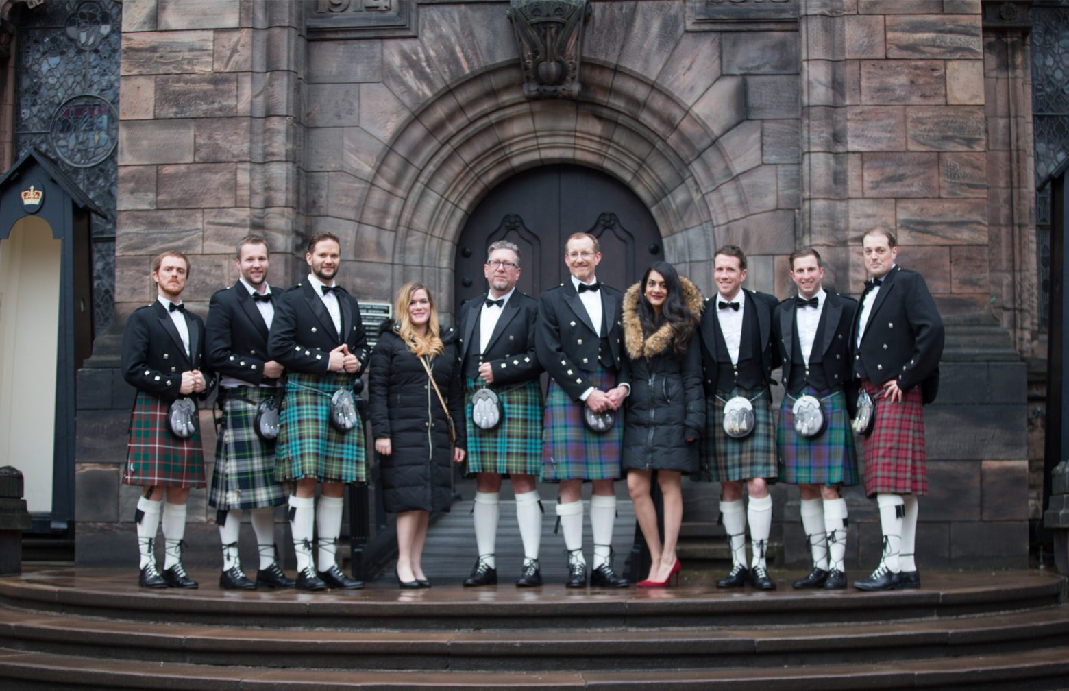 Participants of the Aspire Business Symposium in Scotland wearing the traditional kilts