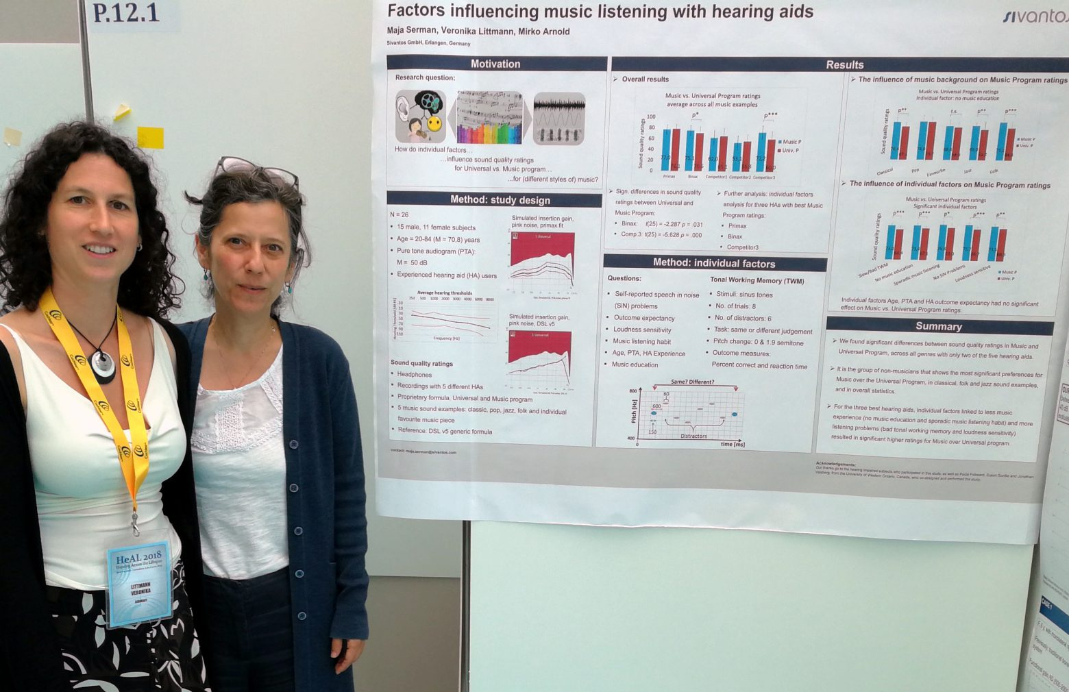 Two Sivantos audiologists with their research results as poster in the background